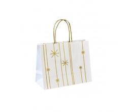 Vánoční taška bílá Star 25x11x20
