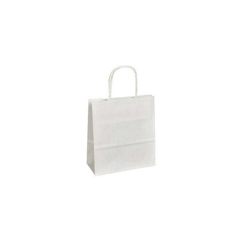 Papírová taška bílá Toptwist rýhovaná 19x8x21
